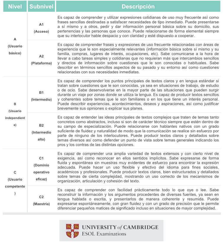 Descripción de los niveles y subniveles de los diferentes cursos de Cambridge